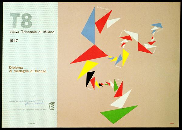 Max Huber, Diploma per l'ottava Triennale di Milano, 1947. Archivio Max Huber.