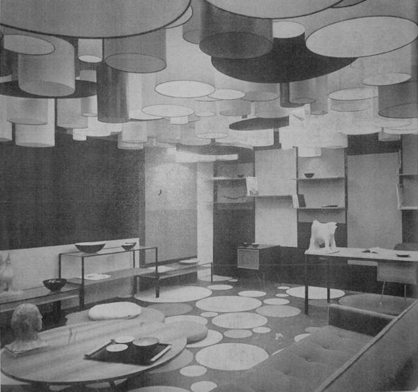 Max Huber e Paolo Tilche, Soggiorno, 1957; progetto presentato alla mostra Colori e forme nella casa d'oggi, Villa Olmo, Como, 1957.