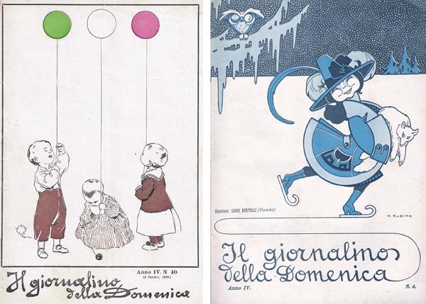 A sinistra: Aleardo Terzi, copertina del Giornalino della Domenica n. 40, anno IV, 1909. A destra: Antonio Rubino, copertina del Giornalino della Domenica n. 4, anno IV, 1909.
