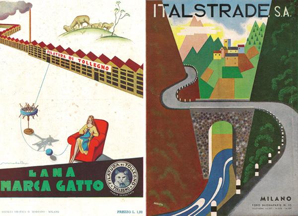 A sinistra: Filiberto Mateldi, manifesto Lana Marca Gatto, 1933. A destra: Bruno Angoletta, manifesto Italstrade S.A., 1941.
