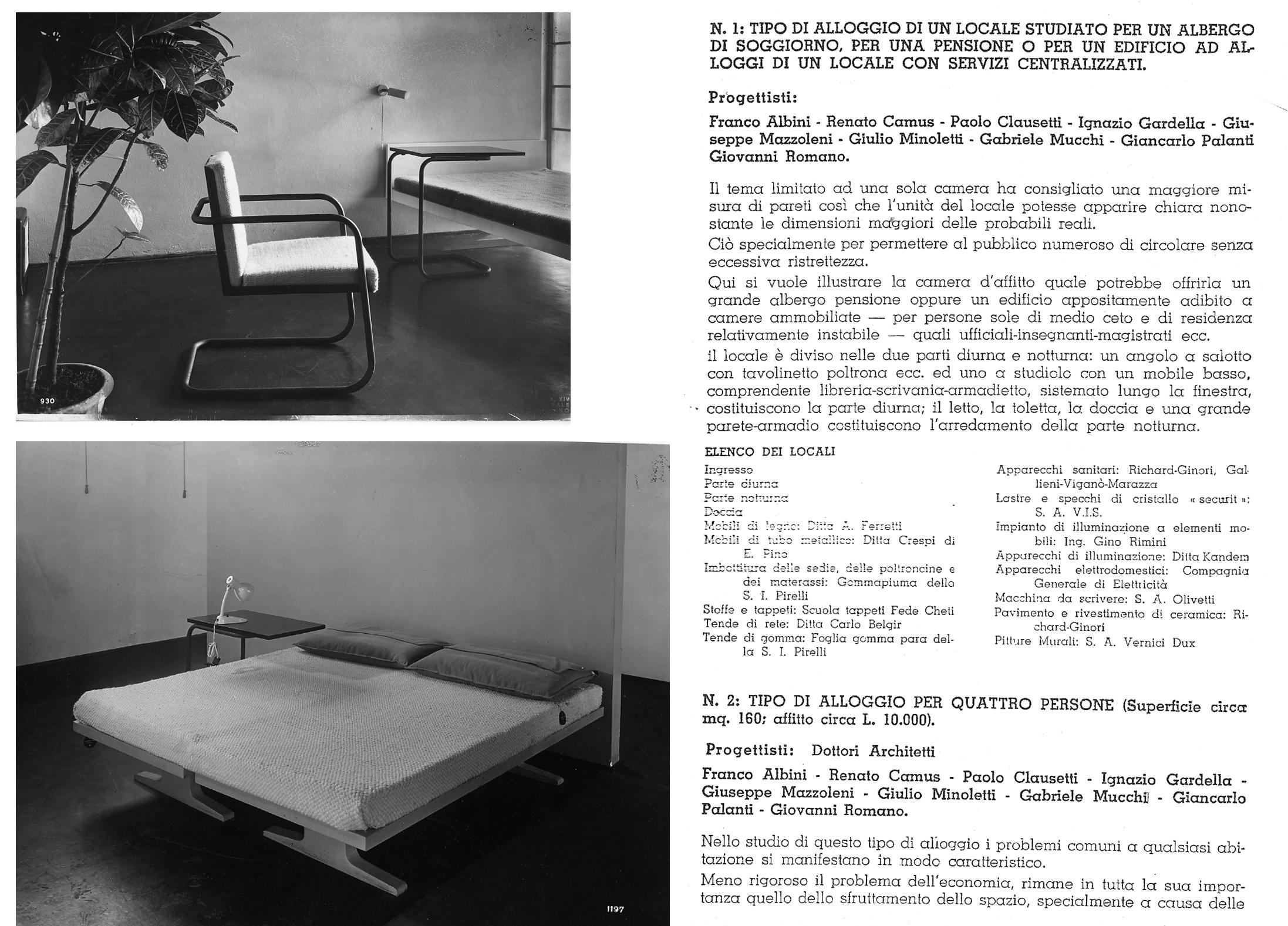 Rivestimenti Fede Cheti la Mostra dell'Abitazione. VI Triennale di Milano, 1936 (© Archivio fotografico Fondazione Franco Albini); Pagina del catalogo.