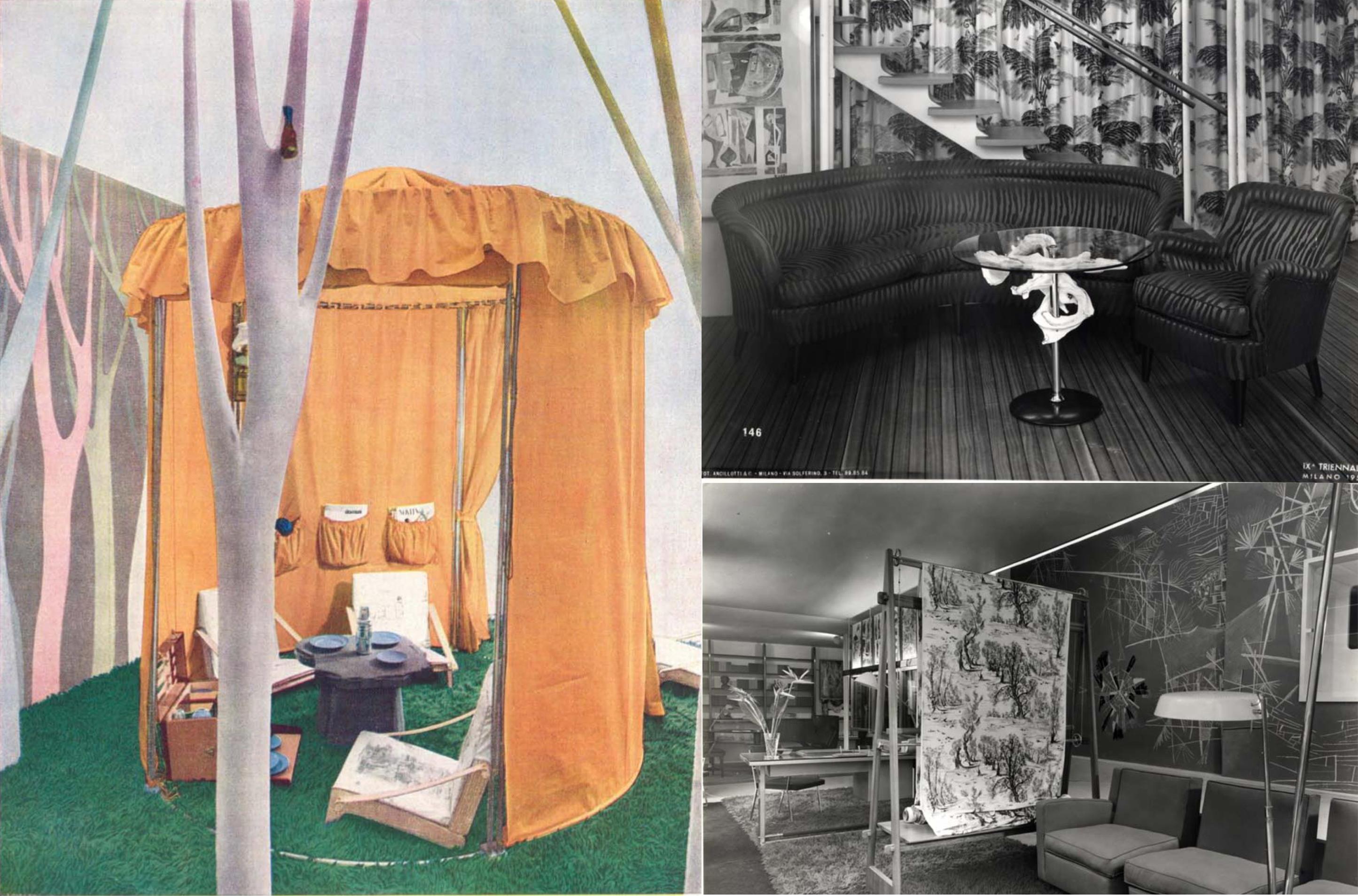 """Allestimento """"La Garretta"""", di Fede Cheti, progetto di Marco Zanuso (Domus n. 259, giugno 1951); Allestimento del Soggiorno dell'architetto Borsani con tendaggio in tessuto Cheti. IX Triennale di Milano."""