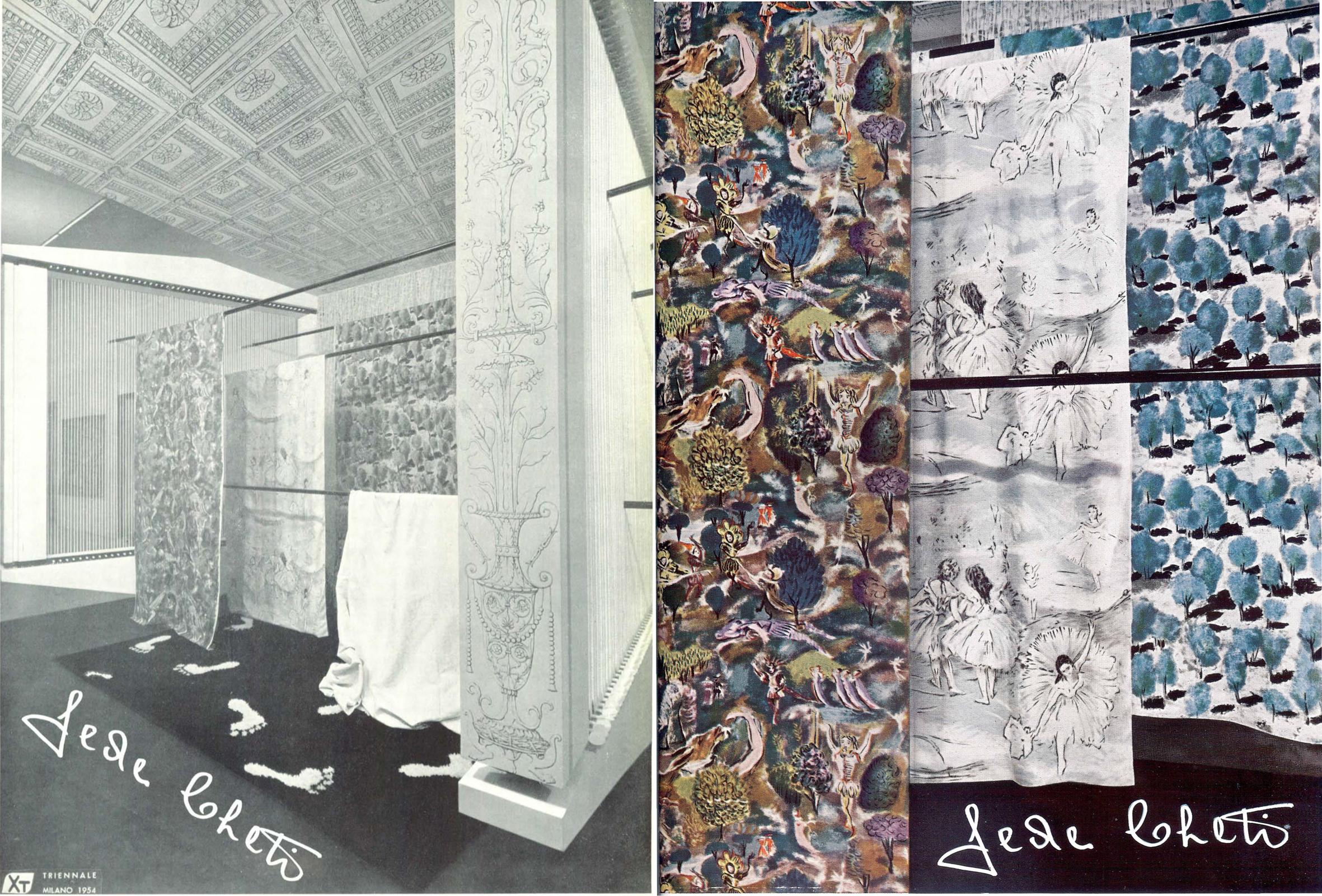 Allestimento e dettaglio delle stoffe Fede Cheti esposte alla X Triennale del 1954 (Domus n. 301 dicembre, 1954).
