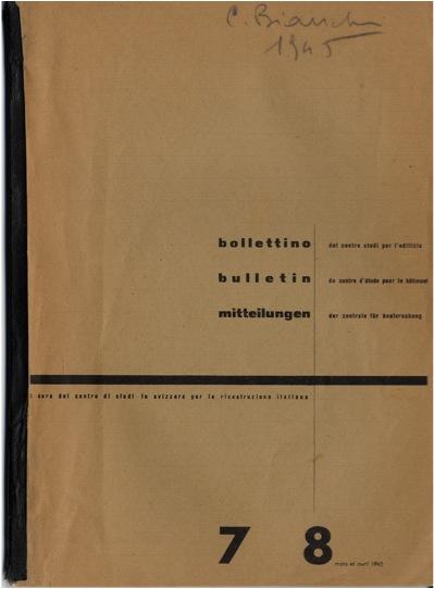 Copertina del Bollettino del Centro Studi, n. 7-8, marzo-aprile 1945
