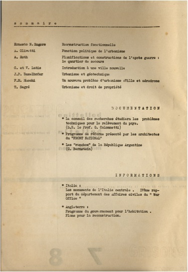 Sommario del Bollettino del Centro Studi, n. 7-8, marzo-aprile 1945