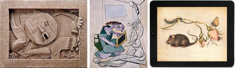 figg.11-12. Pablo Picasso, Baigneuse 1930 e Donna in un interno 1925-30 ca. Parigi, Musée Picasso. fig. 13 iPad, 2010 con inserimento di Jan Breughel, Sorcio con le rose, 1605. Milano, Biblioteca Ambrosiana.