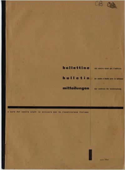 Copertina del Bollettino del Centro Studi per l'edilizia, n. 1, giugno 1944