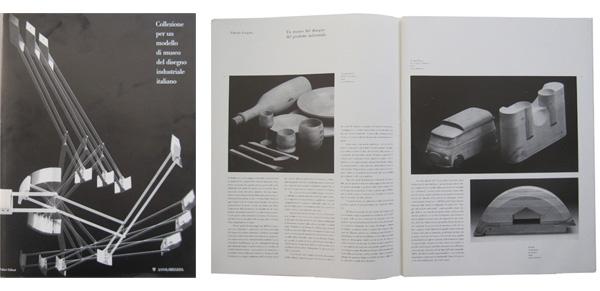 Copertina e pagine interne del catalogo della mostra Collezione per un modello di museo del disegno industriale (1990).
