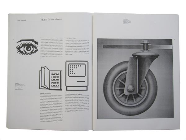 Pagine interne del catalogo della mostra Collezione per un modello di museo del disegno industriale (1990).