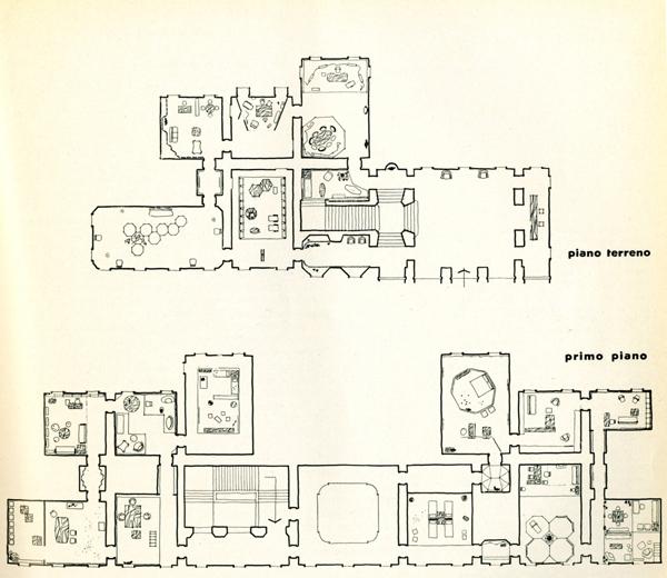 Schema planimetrico della mostra a Villa Olmo, in Colori e forme nella casa d'oggi, catalogo della mostra, Villa Olmo, Como, luglio-agosto 1957.