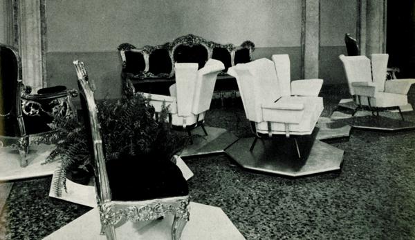 BBPR, sala con le sedute per Arflex, in Colori e forme nella casa d'oggi, catalogo della mostra, Villa Olmo, Como, luglio-agosto 1957.