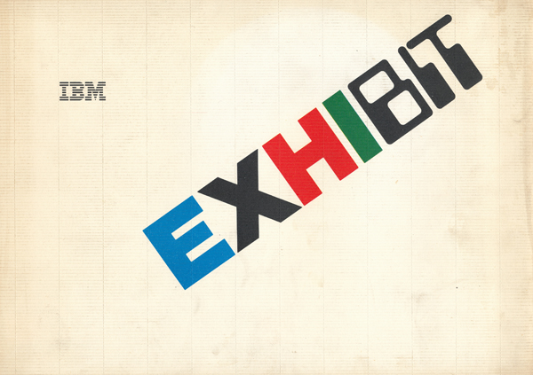 Logo dell'Exhibit Tour, disegnato da Roberto Lanterio, come compare assieme al logo IBM sulla quarta di copertina del volume realizzato in occasione della tappa italiana della mostra itinerante, 1984.