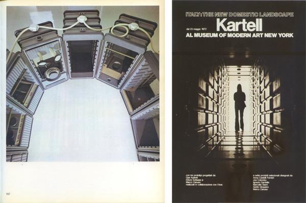 A sinistra, l'environment di Ettore Sottsass sulle pagine del catalogo della mostra Italy: The New Domestic Landscape. A destra, lo stesso environment di Sottsass sul manifesto pubblicitario Kartell. Foto di Valerio Castelli.