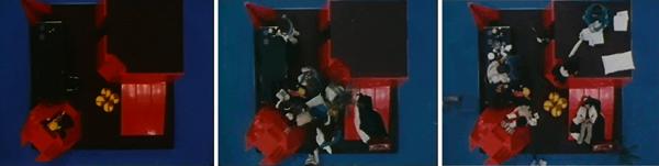 Frame del film For Aulenti project, (vista zenitale) realizzato da Massimo Magrì sull'environment di Gae Aulenti montato nei teatri di posa della Fiat a Torino.