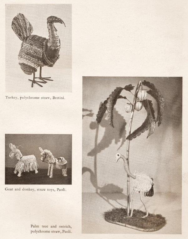 Pagina del catalogo della mostra Italy at Work, con immagini di animali giocattolo realizzati in paglia – un tacchino, prodotto da Bettini, e un asino e un albero di palma con uno struzzo prodotti da Paoli.