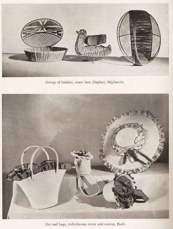 Pagina del catalogo della mostra Italy at Work, con immagini di un gruppo di cestini in paglia realizzati a Napoli da Migliacco, e alcuni cappelli e borse realizzate in paglia e cotone da Paoli.