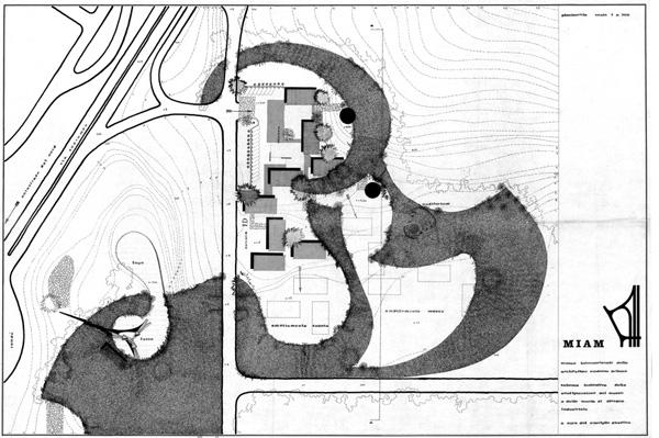 Consiglio direttivo (a cura di), Miam, planimetria con le collocazioni del Museo e della Scuola di disegno industriale nel quartiere sperimentale QT8, [1961] (fald. CS-61-2-3 ABCDEF, cart. CS-61-2-A, AMB).