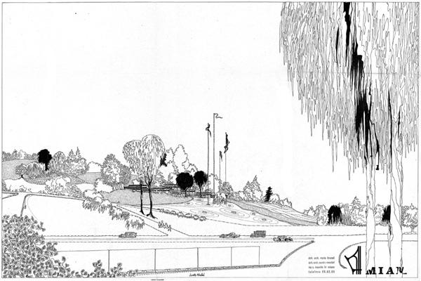 Sandro Mendini, Miam, disegno del complesso, quartiere sperimentale QT8, [1961] (fald. CS-61-2-3 ABCDEF, cart. CS-61-2-A, AMB).