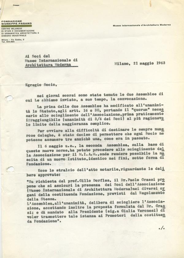 Lettera di Roberto Olivetti ai Soci del Miam, 21 maggio 1963, su carta intestata della Fondazione Giuseppe Pagano, in cui comunica ufficialmente lo scioglimento del Museo (AMB, fald. CS-61-3, cart. CS-61-3-D).
