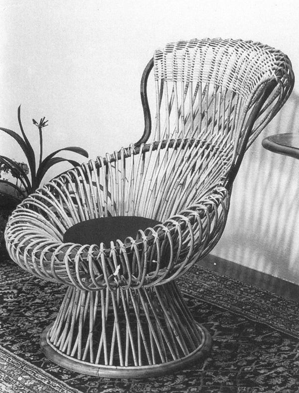 Margherita, poltrona progettata da Franco Albini e prodotta da Bonacina, 1950.