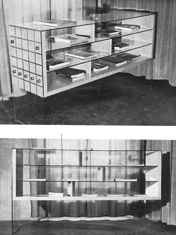 """Gian Antonio Bernasconi. Scaffale per riviste per il Circolo Eporedia ad Ivrea. """"Un mobile da segnalare: uno scaffale per riviste"""" (1940, febbraio). Domus, 146, 89."""