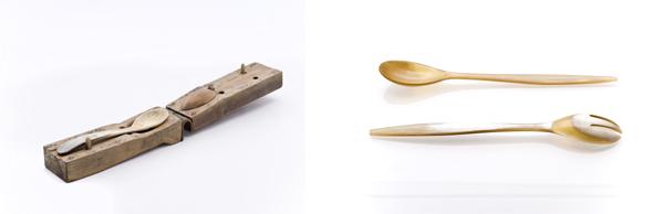 A sinistra, stampo in legno per la termoformatura a caldo delle lastre di corno di bue per la realizzazione delle posate da insalata. A destra, posate da insalata in corno, progetto interno, 1925. Proprietà Fratelli Guzzini.