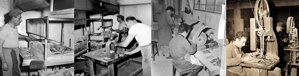 Diverse fasi di lavorazione artigianale del corno per la realizzazione delle posate, dalla preparazione della lastra alla smerigliatura dell'artefatto. Proprietà Fratelli Guzzini. (Fonte delle immagini: ww.archivio.fimag.it).