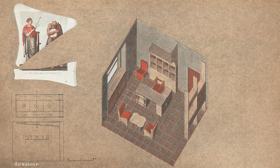"""Progetto BBPR, secondo classificato a Il grande concorso Masonite per l'arredamento di un ufficio. La direzione. Le poltrone sono in Masonite temperata a doppio strato con curvatura fissata ad un registro di legno. """"Il grande concorso 'Masonite' per l'arredamento di un ufficio (1940, aprile). Domus, 148, 79-82."""