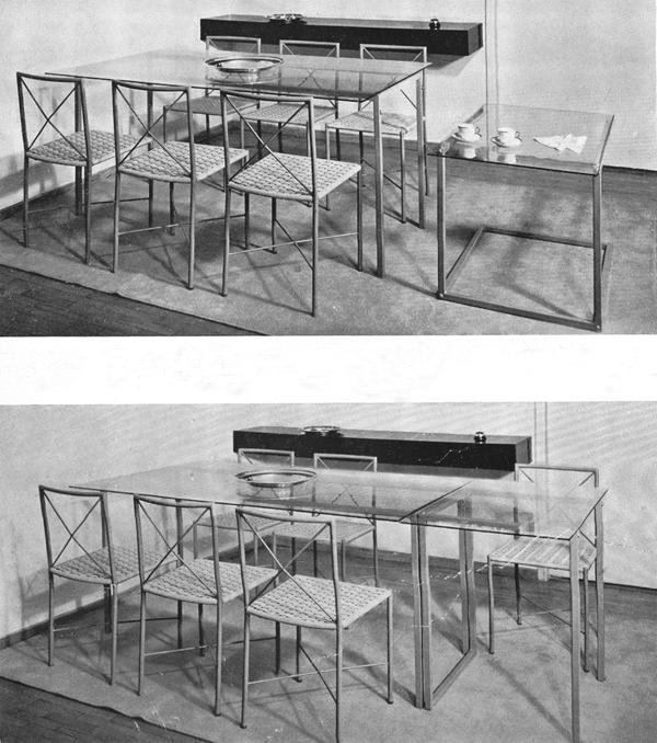 """Giancarlo Palanti. Tavolo allungabile da pranzo con struttura di ferro e piani di Securit. """"Un appartamento a Milano"""" (1941, marzo). Domus, 159, 6-14."""