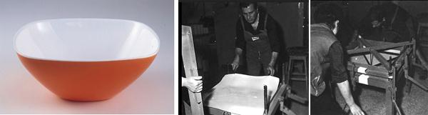 A sinistra, contenitore per usi domestici realizzato mediante termoformatura di lastra bicolore opalina in PMMA, progetto interno di Giovanni e Raimondo Guzzini, 1952. Proprietà Fratelli Guzzini. A destra, fasi della termoformatura della lastra bicolore. (Fonte delle immagini: ww.archivio.fimag.it).