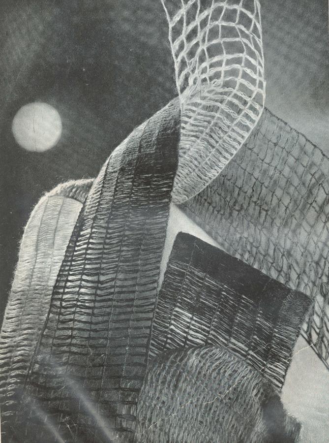 """Anita Pittoni. Tipi di teli di canapa e in lana per tende. """"Anita Pittoni. Tipi di teli di canapa e in lana per tende"""" (1940, aprile). Domus, 148, 92."""