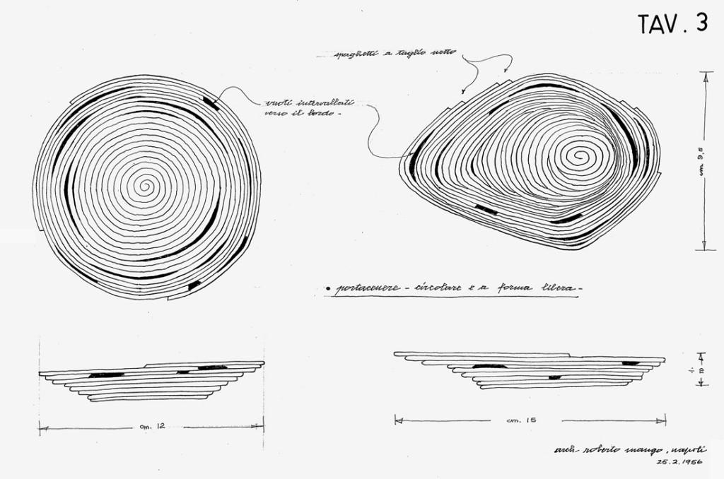 Roberto Mango. Disegno di un vassoio a reticolo circolare chiuso composto da un unico filo di argilla trafilata, produzione SAV, 1956. Archivio Mango.