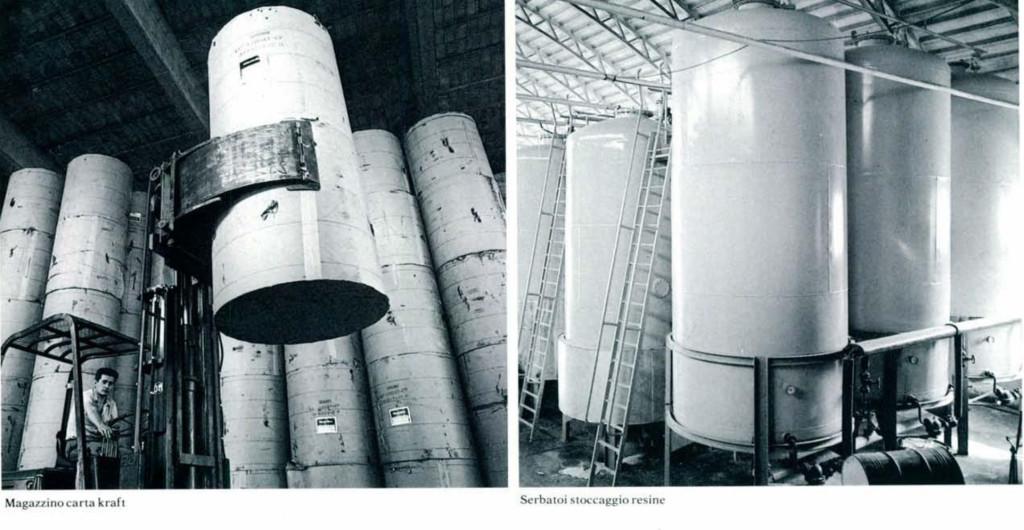 """Immagini dei reparti produttivi Abet. A sinistra: il magazzino delle carta kraft; a destra: lo stoccaggio delle resine. Fonte: Scarzella, P. (a cura di) (ottobre 1985). """"Il laminato ad alta pressione (HPL)"""". Domus 665, 65-72."""