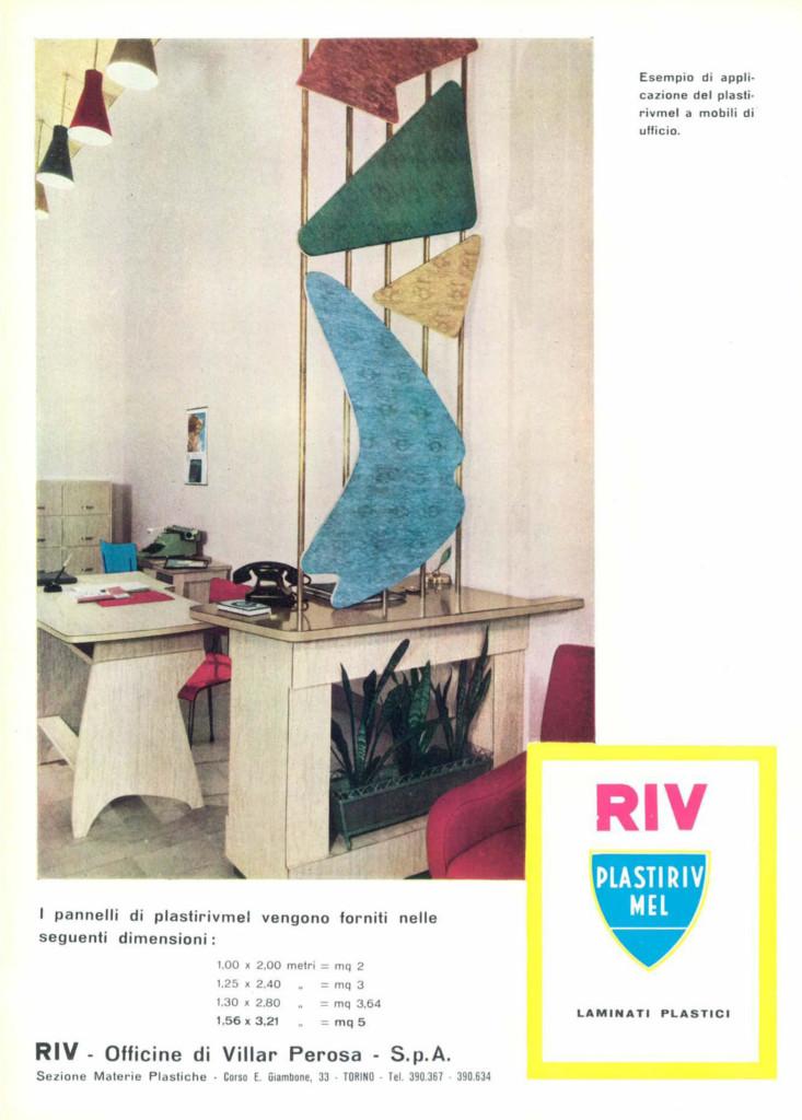 Inserto pubblicitario degli anni '50 della PIRIV. Fonte: Domus 324, novembre 1956.