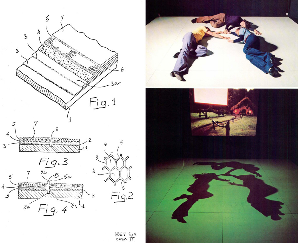 A sinistra brevetto depositato per il laminato Lumiphos di Clino Trini Castelli (archivio Castelli Design). A destra: un immagine dell'allestimento per Eco '74 a Torino.