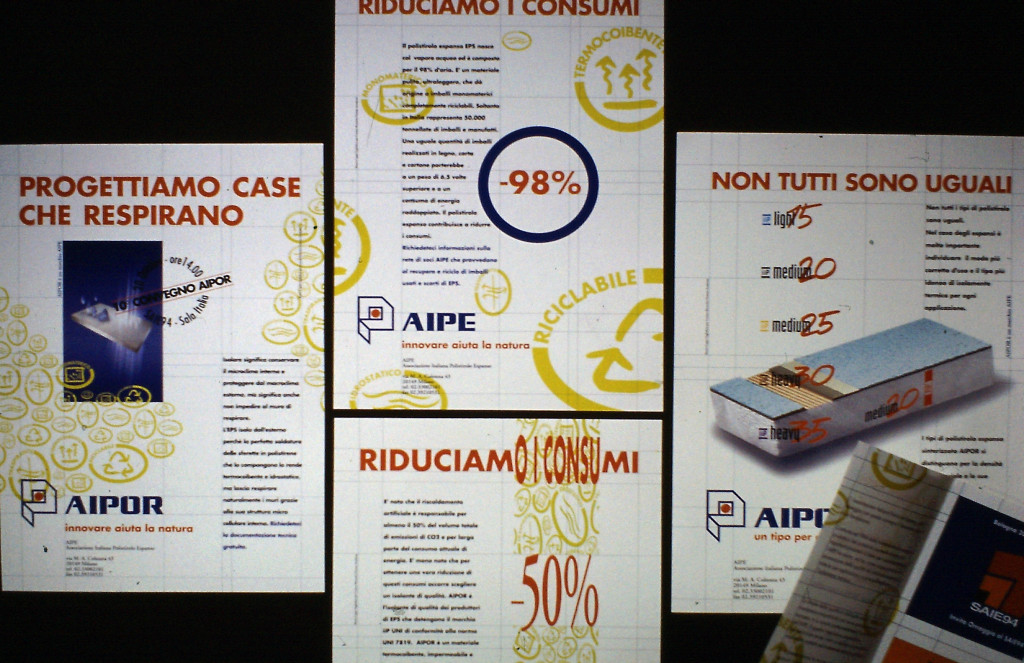 Pagine della campagna promozionale per AIPE, 1993 e seguenti.