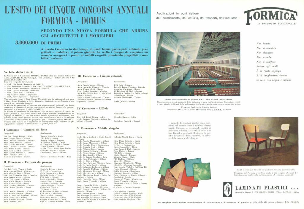 Inserto pubblicitario della Formica Italia e manifesto di un concorso indetto da Formica su Domus 315 del febbraio 1956.