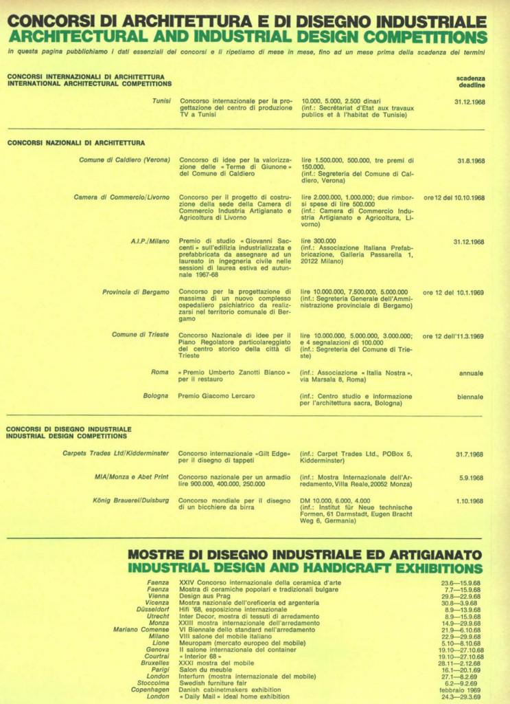 """Manifesto di un concorso MIA / Monza e Abet Print:  """"Concorso nazionale per un armadio"""", (Mostra Internazionale dell'Arredamento, Villa Reale, Monza) su Domus 465 del 1968."""