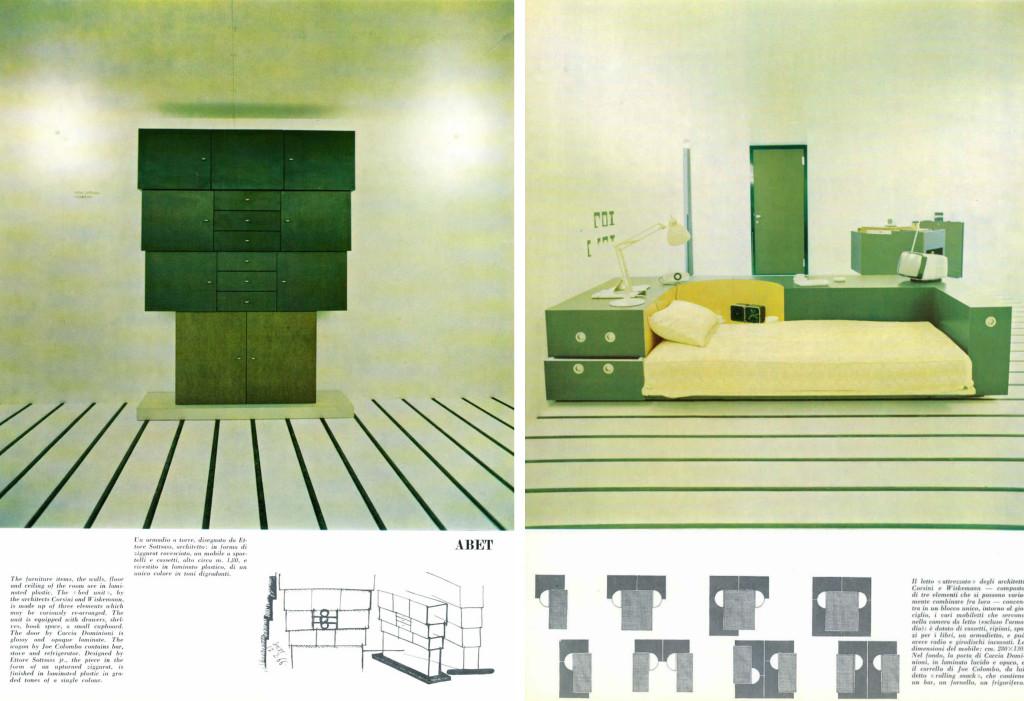 A destra: armadio a torre, disegnato da Ettore Sottsass, architetto: in forma di ziggurat rovesciato, rivestito in laminato plastico; a sinistra: letto attrezzato degli architetti Corsini e Wiskermann. Domus 440, luglio 1966.