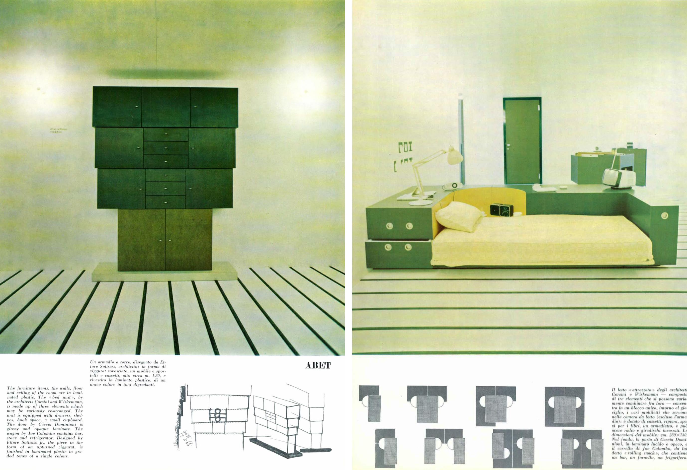 A destra armadio a torre disegnato da Ettore Sottsass architetto in forma