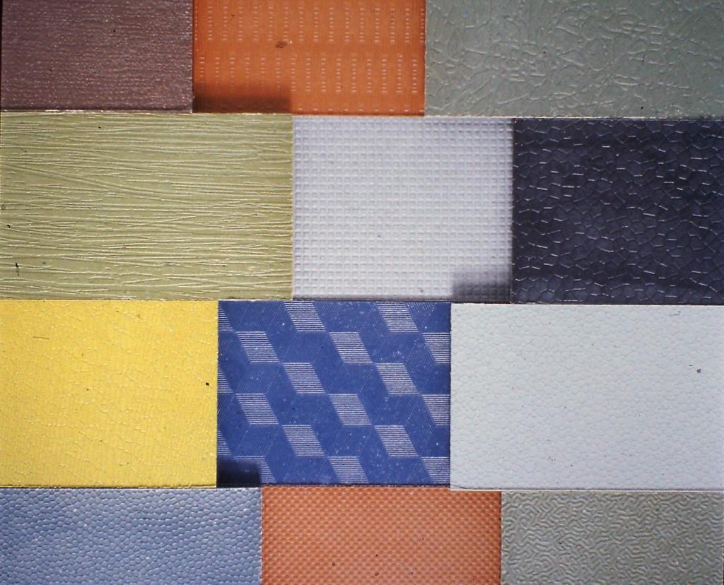 Prove di texture e colore in plastica eterogenea di riciclo, 1990.