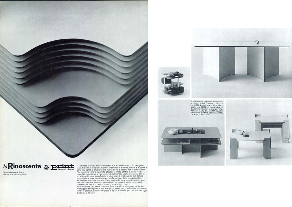 Inserto pubblicitario e alcuni dei progetti presentati per il concorso Abet Print e La Rinascente del 1968, Domus 463.