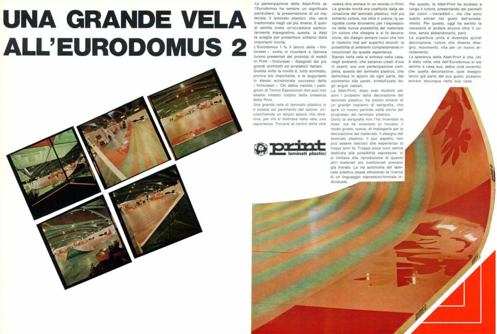 "La ""vela"" allestita da Abet per l'Eurodomus di Torino, Domus 463 giugno 1968."