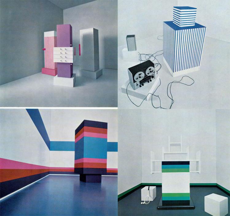 "I mobili di Ettore Sottsass del ""Katalogo Mobili 1966 - studi per Poltronova in laminato plastico Print"", Domus 449, aprile 1967."