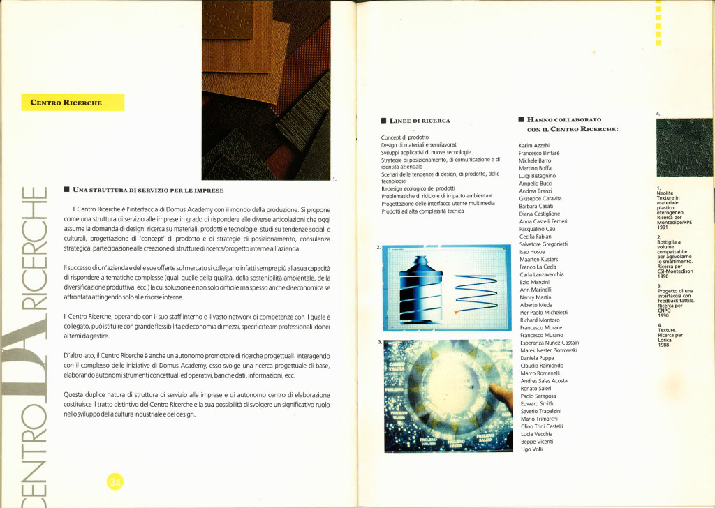 Brochure Domus Academy, 1991.