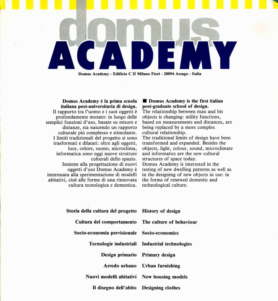 Brochure Domus Academy 1984.