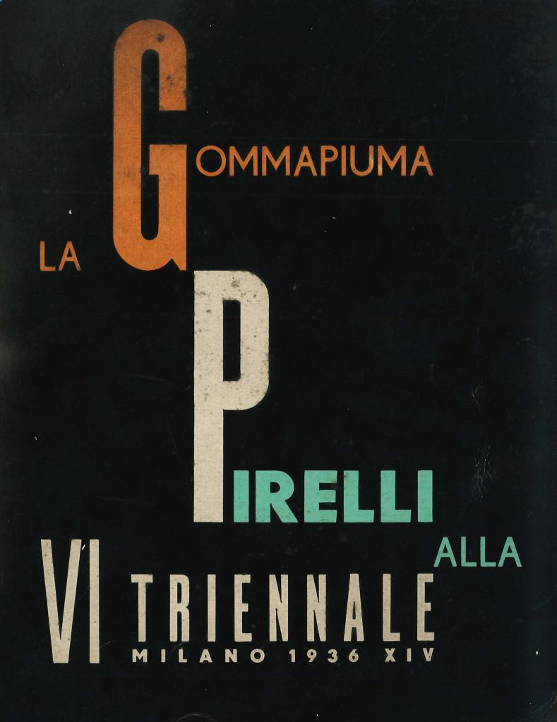 Copertina disegnata da Luigi Veronesi del libretto scritto e curato da Franco Albini, La Gommapiuma Pirelli alla VI Triennale Milano 1936 XIV, editoriale Domus, Milano 1936. (Proprietà fondazione Franco Albini)