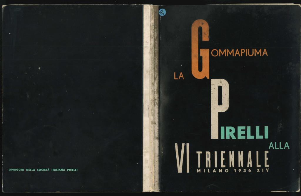 Copertina disegnata da Luigi Veronesi del libretto scritto e curato da Franco Albini, La Gommapiuma Pirelli alla VI Triennale Milano 1936 XIV, editoriale Domus, Milano 1936. (proprietà fondazione Franco Albini).