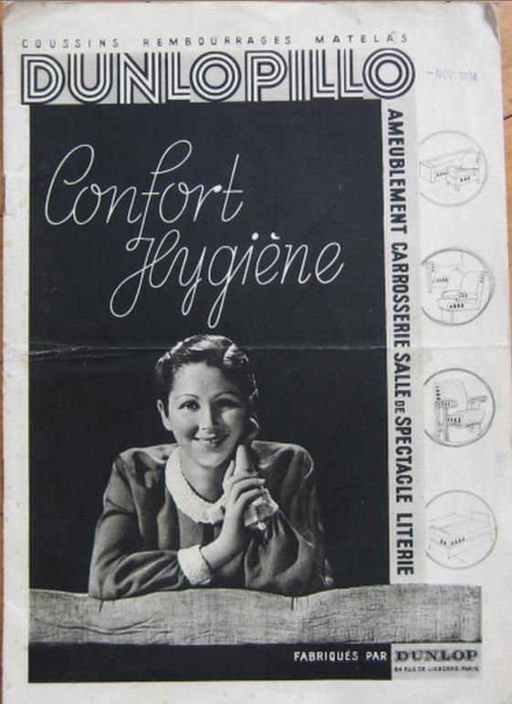 """Copertina della brochure in francese per la presentazione del materiale """"Dunlopillo"""" prodotto dalla Dunlop inglese, timbrato nov. 1934."""