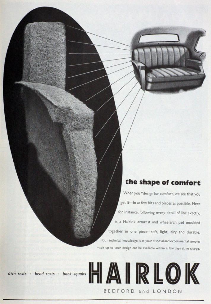 Pagina pubblicitaria dell'azienda Hairlok per l'imbottitura di sedili d'automobile, Gran Bretagna, 1947-48.